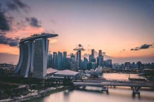 A photo of the skyline of Marina Bay Sands, Singapore